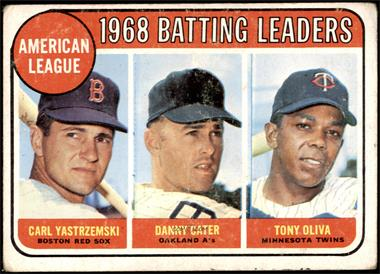 1969 Topps - [Base] #1 - 1968 AL Batting Leaders (Carl Yastrzemski, Danny Cater, Tony Oliva) [FAIR]