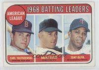 1968 AL Batting Leaders (Carl Yastrzemski, Danny Cater, Tony Oliva) [Noted]