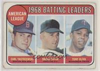 1968 AL Batting Leaders (Carl Yastrzemski, Danny Cater, Tony Oliva) [Poor…