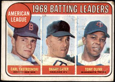 1969 Topps - [Base] #1 - 1968 AL Batting Leaders (Carl Yastrzemski, Danny Cater, Tony Oliva) [FAIR]