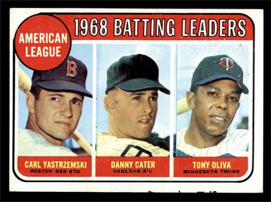 1969 Topps - [Base] #1 - American League 1968 Batting Leaders (Carl Yastrzemski, Danny Cater, Tony Oliva) [FAIR]