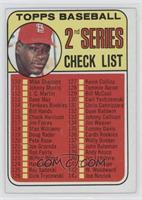 2nd Series Checklist (Bob Gibson) (161 Listed as Jim Purdin)