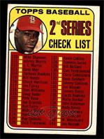 2nd Series Checklist (Bob Gibson) (161 Listed as Jim Purdin) [VG EX]