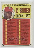 2nd Series Checklist (Bob Gibson) (161 Listed as Jim Purdin) [Good to …