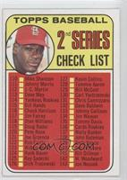2nd Series Checklist (Bob Gibson) (Error: 161 listed as Jim Purdin)