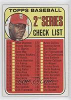 Checklist - 2nd Series (Bob Gibson) (161 Listed as Jim Purdin)