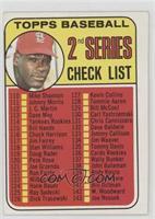 2nd Series Checklist (Bob Gibson) (161 Listed as John Purdin) [Goodto&nbs…