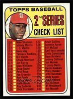 2nd Series Checklist (Bob Gibson) (161 Listed as John Purdin) [EXMT]
