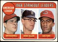 1968 AL Strikeout Leaders (Sam McDowell, Denny McLain, Luis Tiant) [GD+]