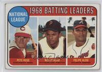 1968 NL Batting Leaders (Pete Rose, Felipe Alou, Matty Alou) [Poorto…