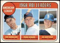 1968 AL RBI Leaders (Ken Harrelson, Frank Howard, Jim Northrup) [VG+]