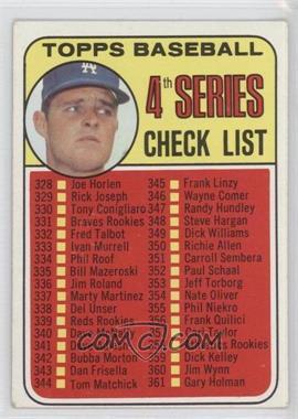1969 Topps - [Base] #314 - 4th Series Checklist (Don Drysdale)