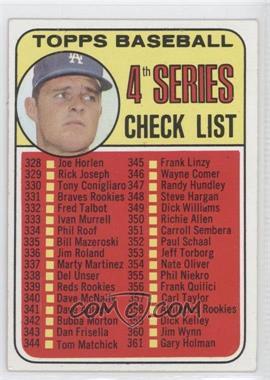 1969 Topps - [Base] #314 - Checklist - 4th Series (Don Drysdale)