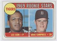 1969 Rookie Stars - Les Cain, Dave Campbell [GoodtoVG‑EX]