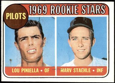 1969 Topps - [Base] #394 - 1969 Rookie Stars - Lou Piniella, Marv Staehle [EX]