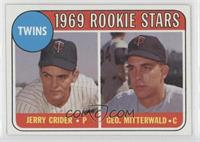 1969 Rookie Stars - Jerry Crider, George Mitterwald (player names in yellow)