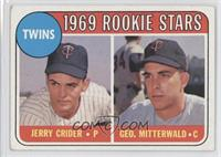 1969 Rookie Stars - Jerry Crider, George Mitterwald (player names in yellow) [G…