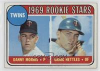 1969 Rookie Stars - Danny Morris, Graig Nettles (Black Loop Above Twins) [Good&…