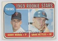 1969 Rookie Stars - Danny Morris, Graig Nettles (No Loop Above Twins)