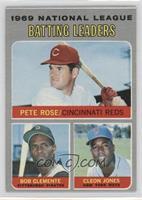 National League Batting Leaders (Pete Rose, Roberto Clemente, Cleon Jones)