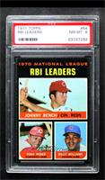 NL RBI Leaders (Johnny Bench, Tony Perez, Billy Williams) [PSA8NM&#…