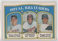 1971 A.L. R.B.I. Leaders - Frank Robinson, Reggie Smith, Harmon Killebrew [Good…