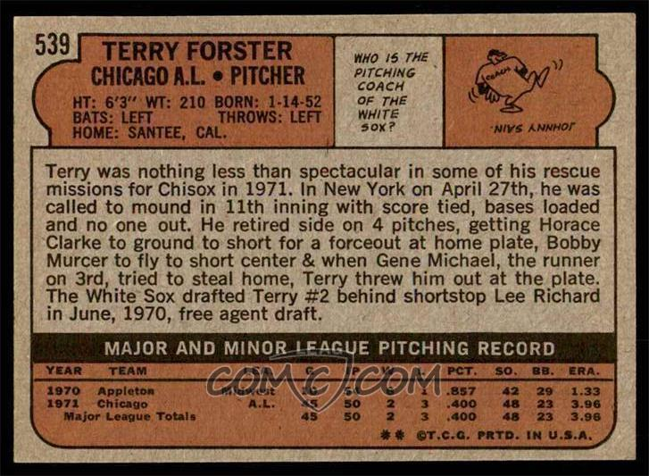 1972 Topps - [Base] #539 - Terry Forster [NM MT]