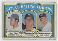 1971 A.L. Batting Leaders (Tony Oliva, Bobby Murcer, Merv Rettenmund) [Poor&nbs…