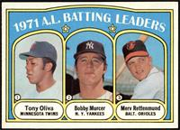 1971 A.L. Batting Leaders (Tony Oliva, Bobby Murcer, Merv Rettenmund) [NM…