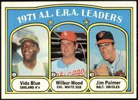 A.L. E.R.A. Leaders (Vida Blue, Wilbur Wood, Jim Palmer) [NM]