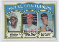 A.L. E.R.A. Leaders (Vida Blue, Wilbur Wood, Jim Palmer)