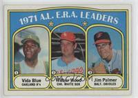 A.L. E.R.A. Leaders (Vida Blue, Wilbur Wood, Jim Palmer) [GoodtoVG&…
