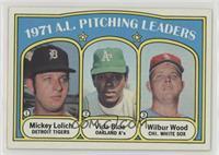 1971 A.L. Pitching Leaders (Mickey Lolich, Vida Blue, Wilbur Wood)