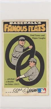 1973 Fleer Real Cloth Baseball Patches - Laughlin Baseball's Famous Feats #14 - Hippo Vaughn, Fred Toney [Poor to Fair]