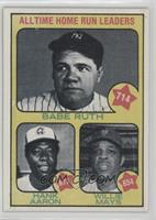 All Time Home Run Leaders (Babe Ruth, Hank Aaron, Willie Mays)