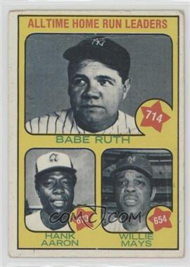 1973 Topps - [Base] #1 - All Time Home Run Leaders (Babe Ruth, Hank Aaron, Willie Mays) [Poor to Fair]