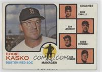 Eddie Kasko, Don Lenhardt, Eddie Popowski, Lee Stange, Doug Camilli (orange tin…
