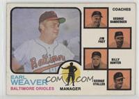 Earl Weaver, George Bamberger, Jim Frey, Billy Hunter, George Staller (orange b…