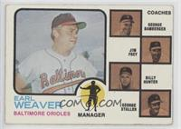 Earl Weaver, Billy Hunter, Jim Frey, George Staller, George Bamberger (brown ba…