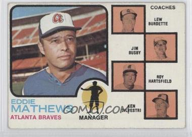 1973 Topps - [Base] #237.2 - Eddie Mathews, Lew Burdette, Jim Busby, Roy Hartsfield, Ken Silvestri (Lew Burdette without Right Ear)