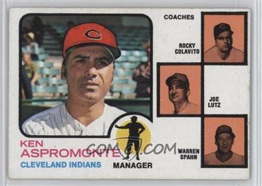 1973 Topps - [Base] #449.1 - Ken Aspromonte, Rocky Colavito, Warren Spahn, Joe Lutz (orange background) [GoodtoVG‑EX]
