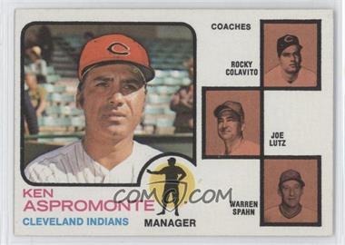 1973 Topps - [Base] #449.2 - Ken Aspromonte, Rocky Colavito, Joe Lutz, Warren Spahn (brown background)