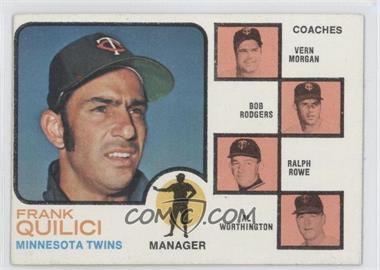 1973 Topps - [Base] #49.1 - Twins Coaches (Frank Quilici, Vern Morgan, Bob Rodgers, Ralph Rowe, Al Worthington) (Solid Backround)