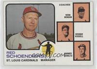 Vern Benson, George Kissell, Barney Schultz, Red Schoendienst (orange backgroun…
