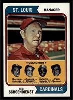 Cardinals Coaches (Red Schoendienst, Barney Schultz, George Kissell, Johnny Lew…