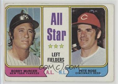 1974 Topps - [Base] #336 - All Star Left Fielders (Bobby Murcer, Pete Rose) [Poor]