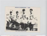 Red Rolfe, Tony Lazzeri, Lou Gehrig, Frank Crosetti (1938-Blue Back) [Good …