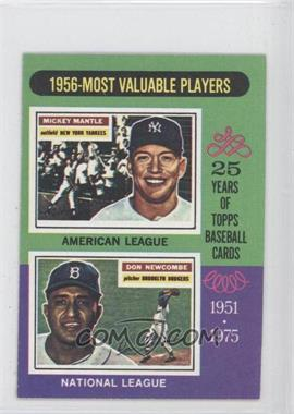 1975 Topps - [Base] - Minis #194 - 1956-Most Valuable Players (Mickey Mantle, Don Newcombe)