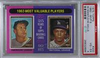 1962-Most Valuable Players (Mickey Mantle, Maury Wills) [PSA 4 VG&#82…