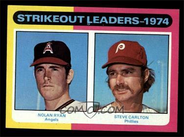 1975 Topps - [Base] #312 - Strikeout Leaders (Nolan Ryan, Steve Carlton) [EXMT]